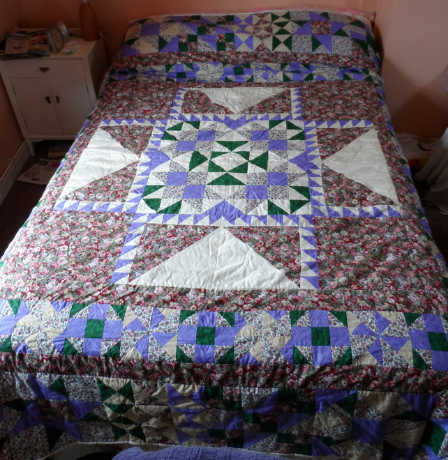 Homemade Purple, green, red and white Patchwork Quilt (17)
