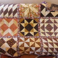 Homemade Brown Sampler Lap quilt (45)