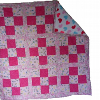 "Homemade Patchwork baby quilt blanket. Pink.  43"" x 43"""
