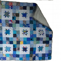"Homemade Blue baby star patchwork quilt.  32"" x 32"""
