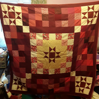 "Homemade Ohio star patchwork quilt. 63"" square"