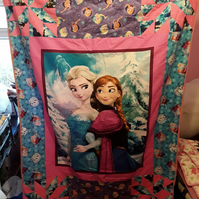 Homemade frozen patchwork quilt