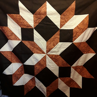 Homemade Brown star patchwork quilt