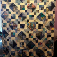 Homemade Blues and twos patchwork quilt