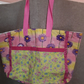 Homemade purple flower large tote bag