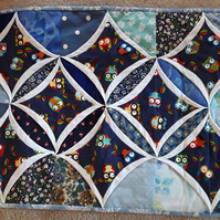 Homemade Owl cathedral window blue table runner