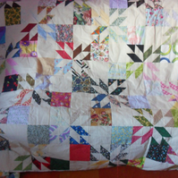 Stars and checks patchwork quilt (31)