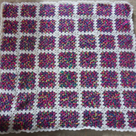 Crocheted Baby blanket, Granny squares, Multi-coloured