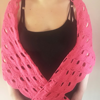 Homemade Crocheted Pink Shawl