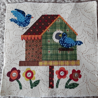 Birds and bird house, 100% cotton fabric squares