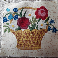 Basket of flowers. 100% cotton fabric squares