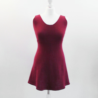 Burgundy Red Cotton Knitted Skater Dress Made To Order