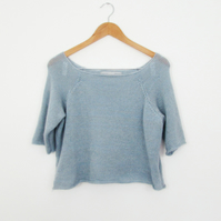 Pastel Blue Mohair and Silk Knitted Jumper - Blue Knit Sweater