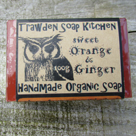 Sweet Orange & Ginger Organic Soap with eco packaging and lovely owl design
