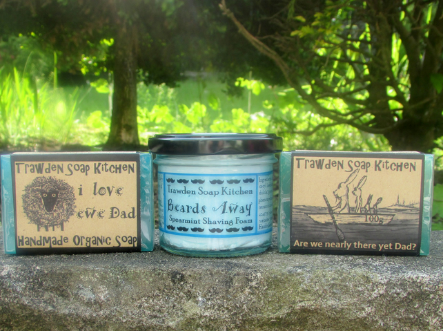 Fathers day gift set, shaving foam and soaps