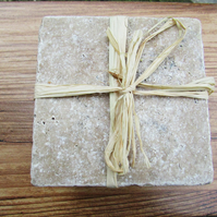 Travertine Coaster Set, Cork Backed, Rustic Home Decor, Mothers Day Gift