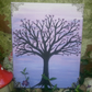 Hand painted & embellished sunset gem tree canvas with filligree cornering