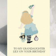 Personalised Alice in Wonderland Cards  MADE TO ORDER