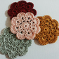 Crochet Flower Motifs in peach burgundy light sage mustard 4pcs. 2inches or 5cm