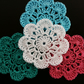Crocheted Flower Motifs in white turquoise emerald green pink 4pcs. 2inches