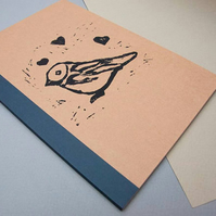 Large Bird Notebook - Lined Notebook - Stationery - Paper Goods - Kraft- Lino