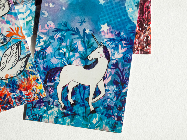 The Blue Unicorn Postcard - Magical - Stationery - Blank - Illustrated