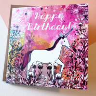 Unicorn Happy Birthday Greeting Card - Gift - For Children and Adults -