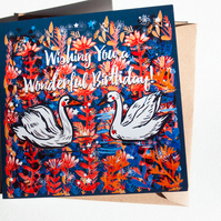 Swans Birthday Card - Illustrated Card - Blank - Illustration - Gift