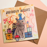 Happy Birthday Cat Greeting Card - British Shorthair Cat - Card for All