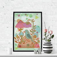 The Blue Bird Fine Art Print - Nature - Illustrated Bird Artwork - Wall Art