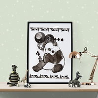 Panda Fine Art Print - Art for Children and Babies - Gift- Present