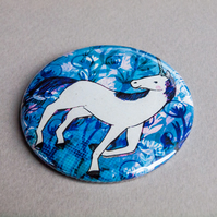 The Blue Unicorn Pocket Mirror - Gift Idea - Present - Birthday - Magical