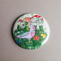 Woodland Bird Pocket Mirror - Gift Idea - Present - Birthday - Magical