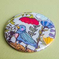 Garden Bird Pocket Mirror - Gift Idea - Present - Birthday - Magical