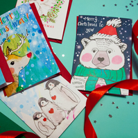 Set of 5 Artic Christmas Cards with Red Envelopes & Free Shipping