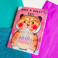 Have a Great Day Happy Birthday Tiger Greeting Card - Children's Birthday Card