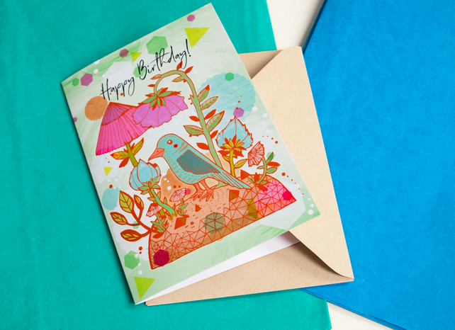 Blue Bird Happy Birthday Card - Stationery - Blank Greeting Card- Illustrated