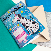 Dalmatian Happy Birthday Greeting Card-Dogs-Stationery-Paper Goods