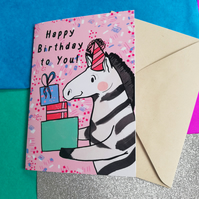 Happy Birthday to You Zebra Greeting Card - Stationery- Animal-Cute-Blank