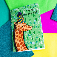 Giraffe Happy Birthday Greeting Card - Animal - Illustrated Card- Stationery