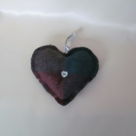 Green & Red Wool Tweed Heart Decoration with Mother of Pearl Button