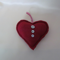 Red Felted Wool  Heart Decoration with Mother of Pearl Buttons