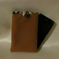 Tan Wool Fleece Phone Sleeve with Ditsy Floral Lining