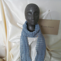 Silk and Merino Wool Luxury Hand Knitted  Scarf in Sky Blue