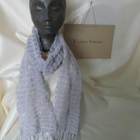 Silk and Merino Wool Luxury Hand Knitted Fringed Scarf in Whisper Grey
