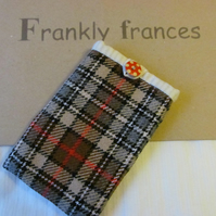 Tartan Tweed Wool Mobile Phone Sleeve in Red, Camel, Grey,  Black & Tan