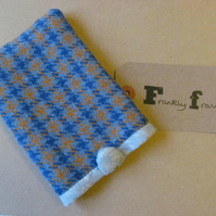 Sky Blue & Tan Wool,Tweed Mobile Phone Sleeve