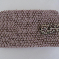 Mobile Phone Case Camel  15 cmx 8cm  Hand knitted  natural floral cotton lined