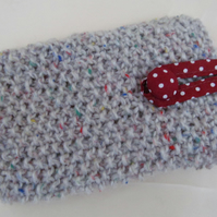 Mobile Phone Case Natural Stone 15 cm deep 9cm wide Hand knitted cotton lined