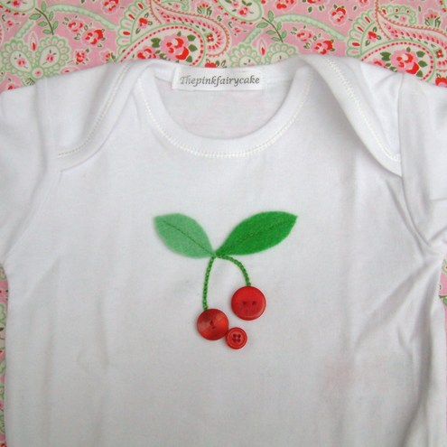 Shabby Chic Cherries body suit 0-3,3-6,6-12m